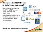 who uses golftec events to build their business