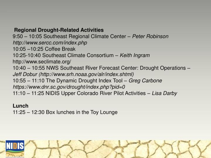 Regional Drought-Related Activities