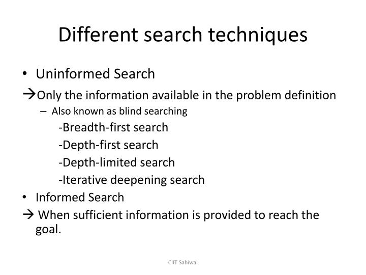 Different search techniques