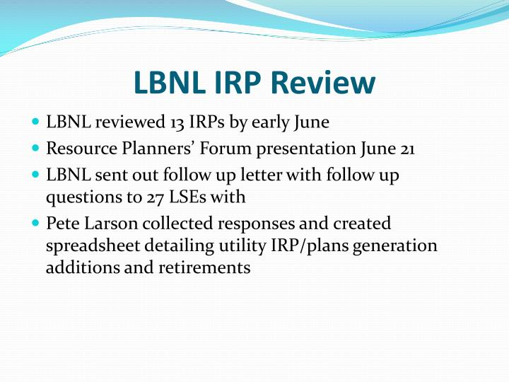 LBNL IRP Review