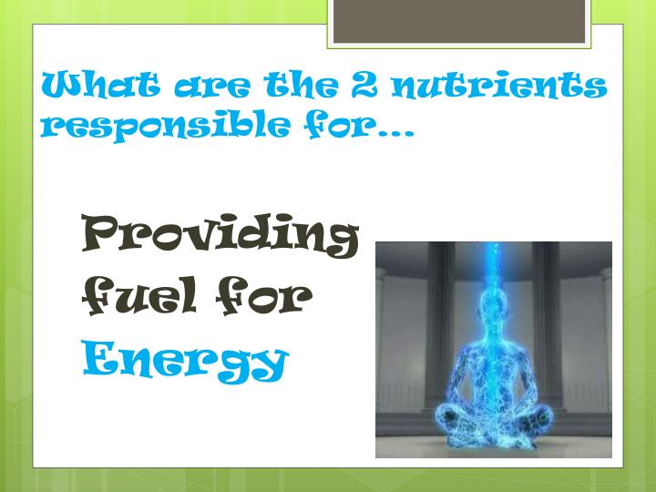 What are the 2 nutrients responsible for…