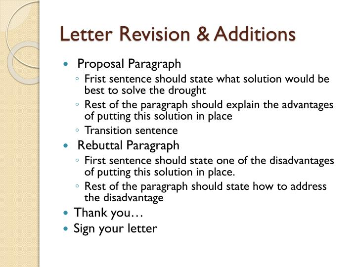 Letter revision additions