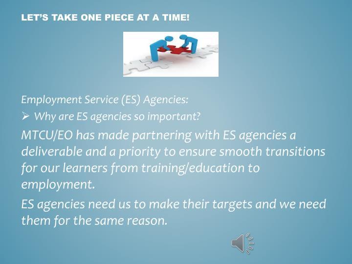 Employment Service (ES) Agencies: