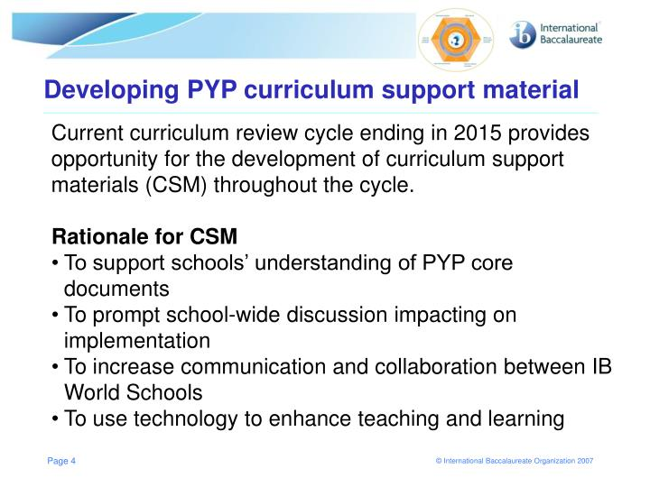 Developing PYP curriculum support material