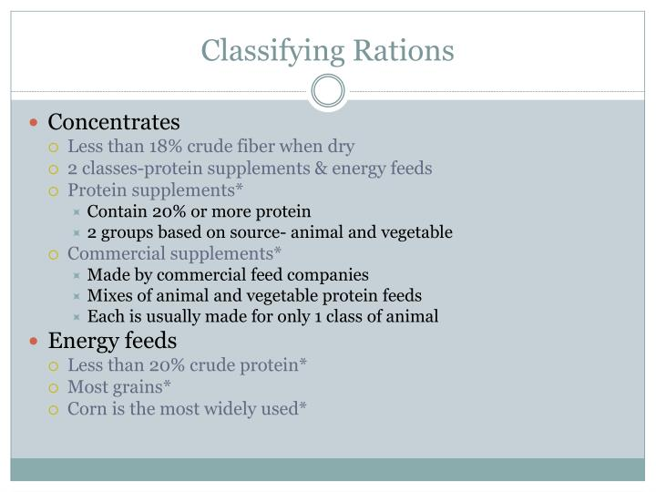 Classifying Rations