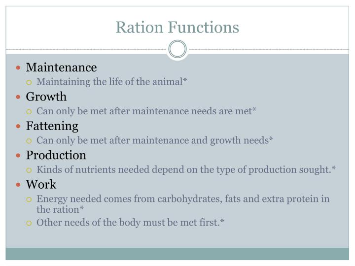 Ration Functions