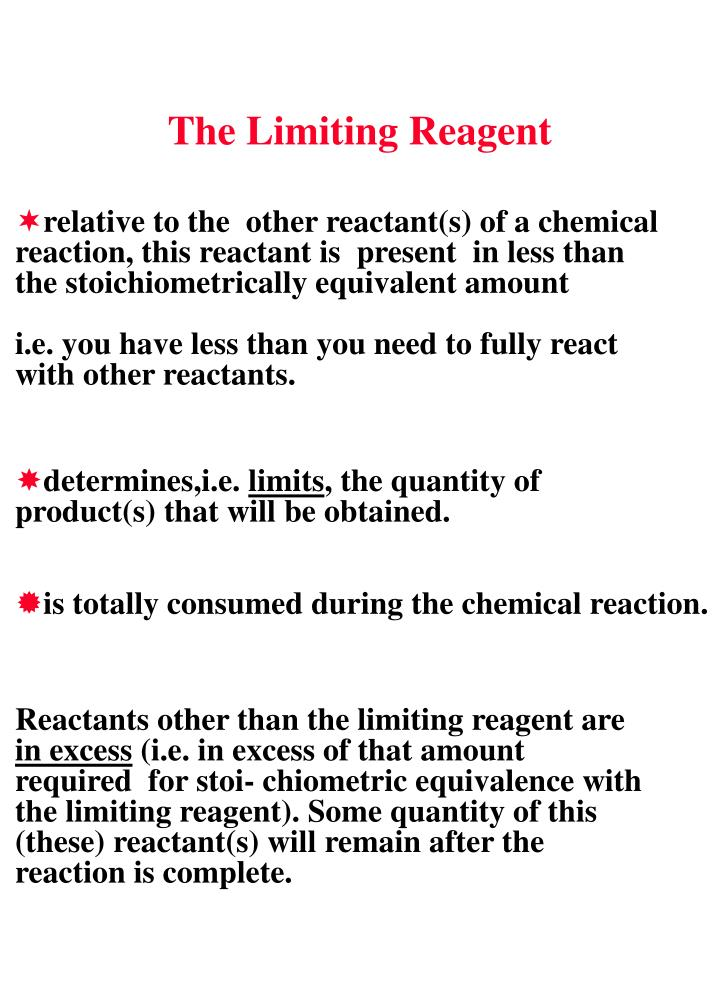 The Limiting Reagent