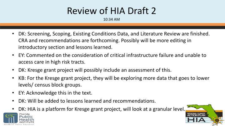 Review of HIA Draft 2