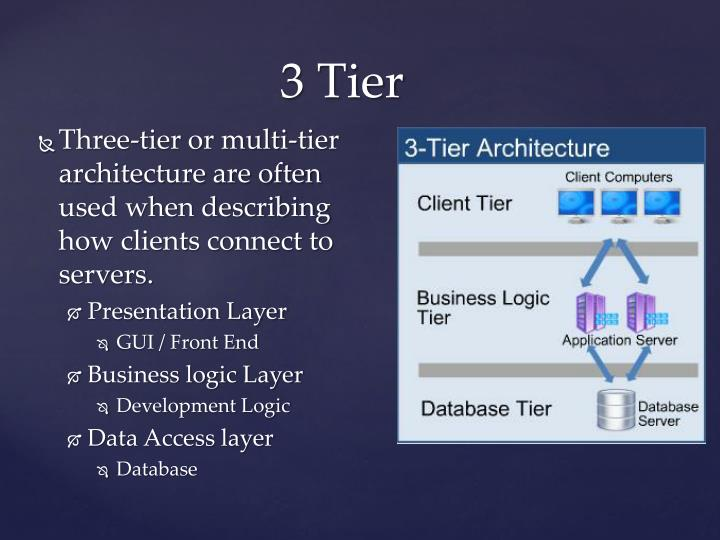 Three-tier or multi-tier architecture are often used when describing how clients connect to servers