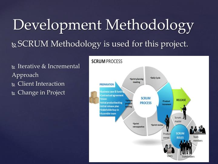 SCRUM Methodology is used for this project.