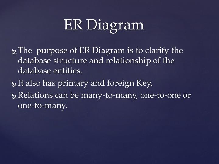 The  purpose of ER Diagram is to clarify the database structure and relationship of the database entities.
