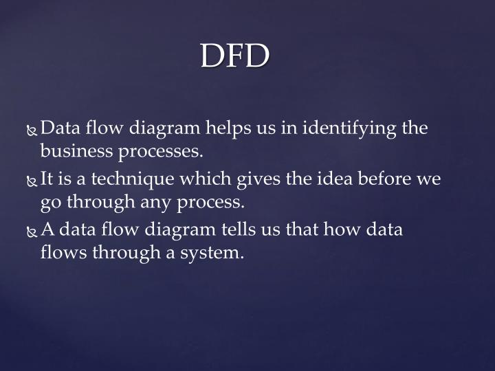 Data flow diagram helps us in identifying the business processes.