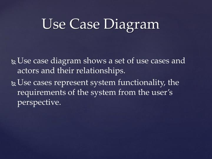 Use case diagram shows a set of use cases and actors and their relationships.