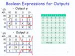 boolean expressions for outputs