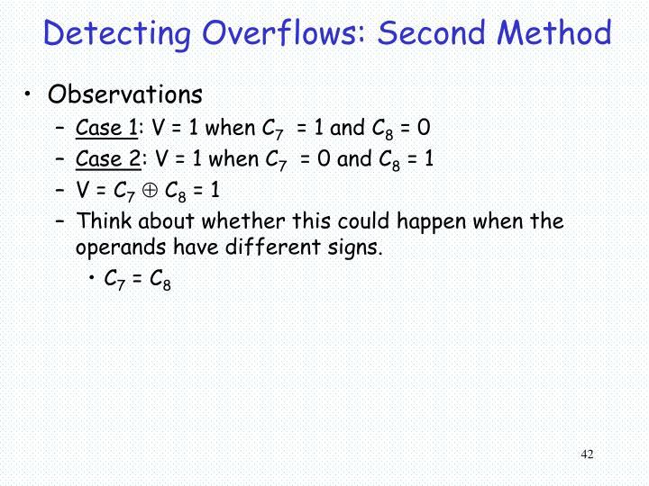 Detecting Overflows: Second Method