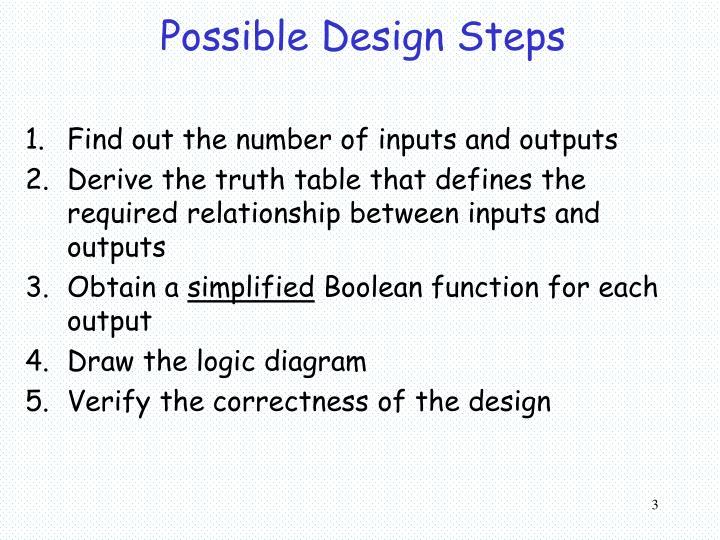 Possible Design Steps