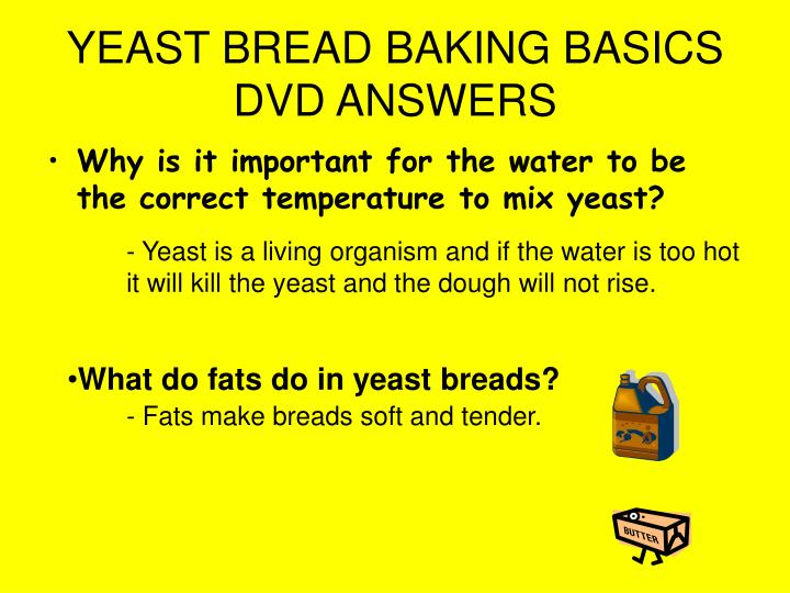 YEAST BREAD BAKING BASICS DVD ANSWERS