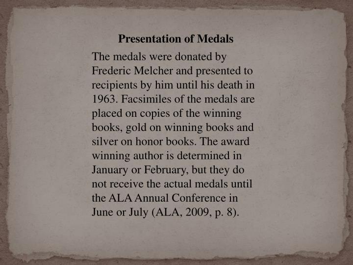 Presentation of Medals