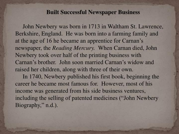 Built Successful Newspaper Business