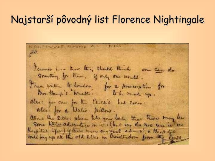 Najstarší pôvodný list Florence Nightingale