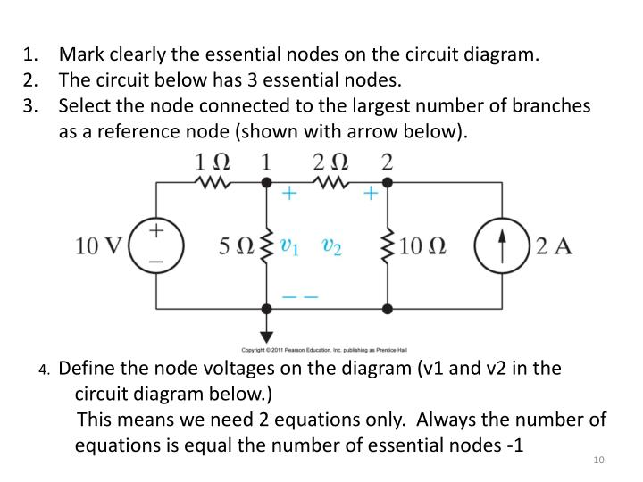 Mark clearly the essential nodes on the circuit diagram.