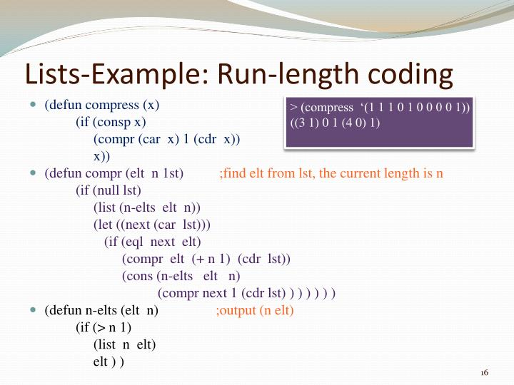 Lists-Example: Run-length coding