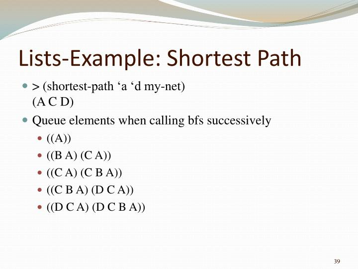Lists-Example: Shortest Path