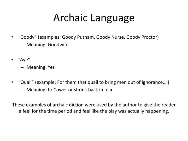 Archaic Language
