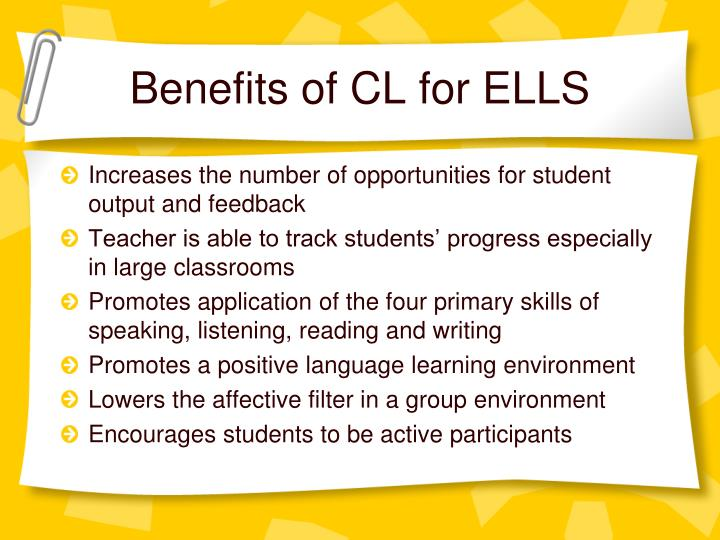 Benefits of CL for ELLS