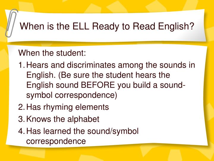 When is the ELL Ready to Read English?