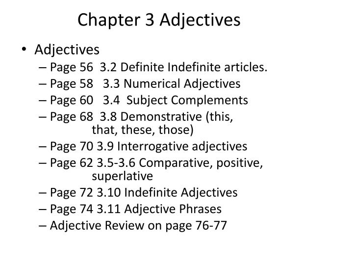 Chapter 3 Adjectives