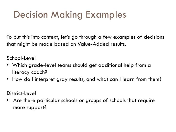 Decision Making Examples