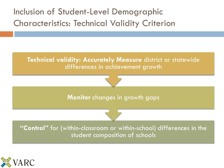 Inclusion of Student-Level Demographic Characteristics: Technical Validity Criterion