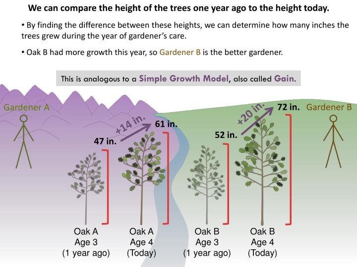 We can compare the height of the trees one year ago to the height today.