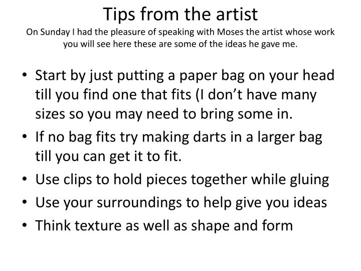 Tips from the artist