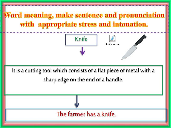 Word meaning, make sentence and pronunciation with  appropriate stress and intonation.