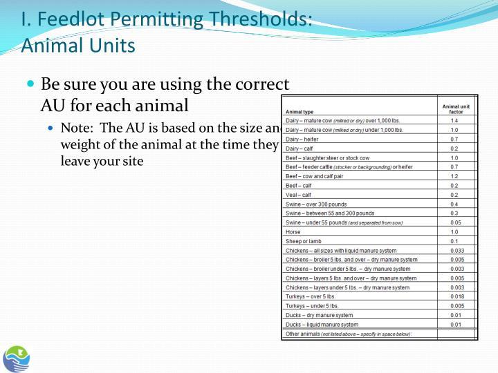 I. Feedlot Permitting Thresholds: