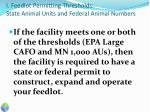 i feedlot permitting thresholds state animal units and federal animal numbers1
