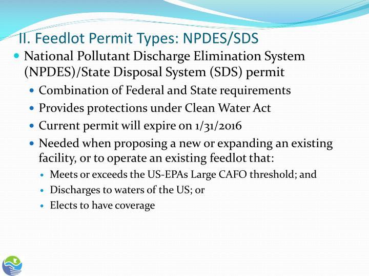 II. Feedlot Permit Types: NPDES/SDS