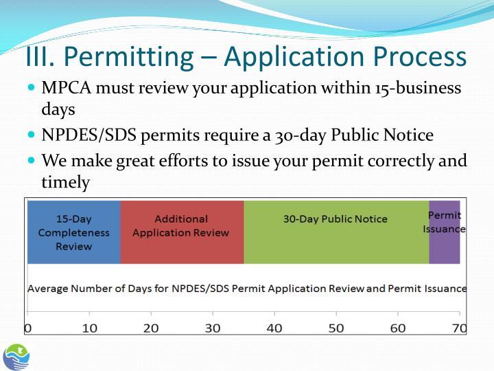 III. Permitting – Application Process