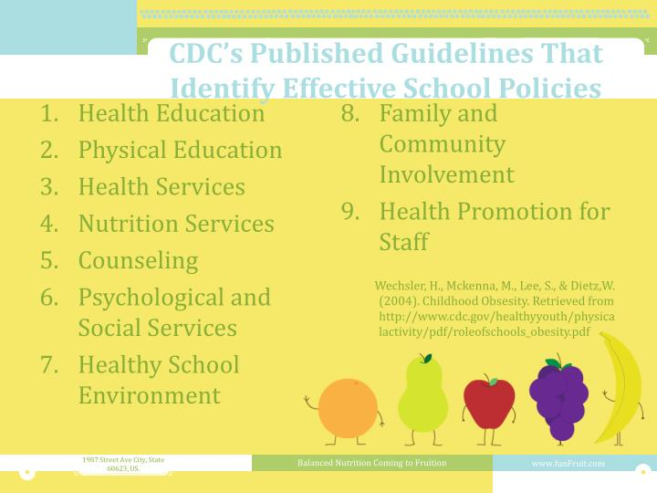 CDC's Published Guidelines That Identify Effective School Policies