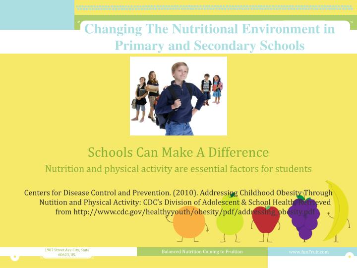 Changing The Nutritional Environment in Primary and Secondary Schools