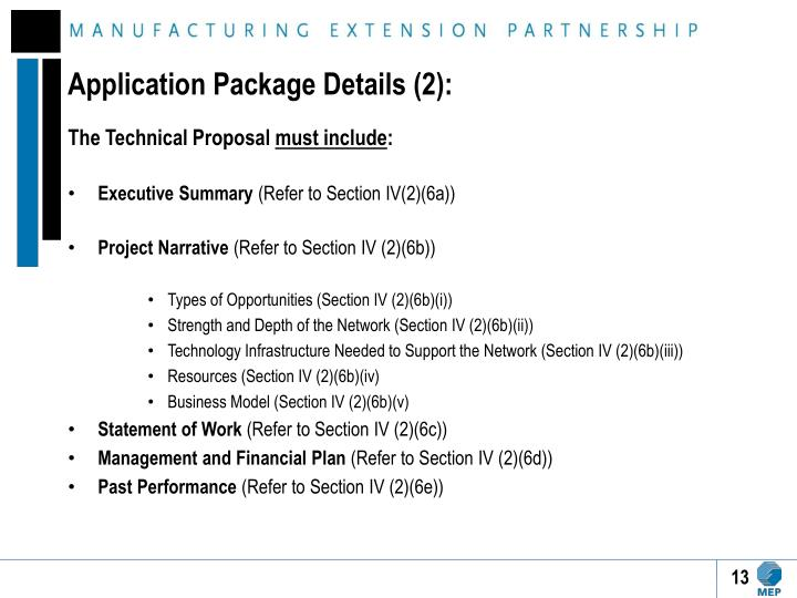 Application Package Details (2):