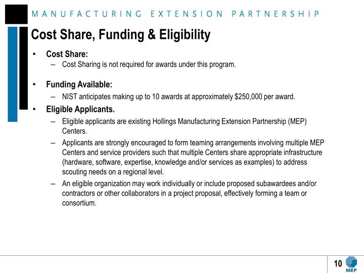 Cost Share, Funding & Eligibility
