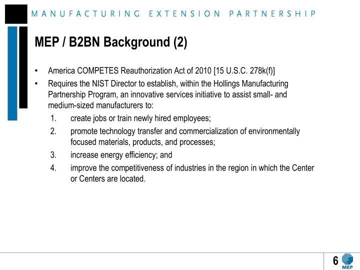 MEP / B2BN Background (2)