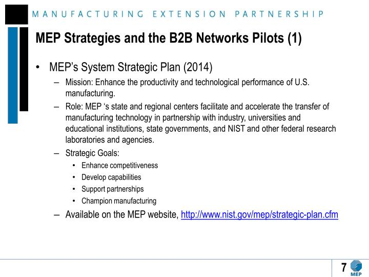MEP Strategies and the B2B Networks Pilots (1)