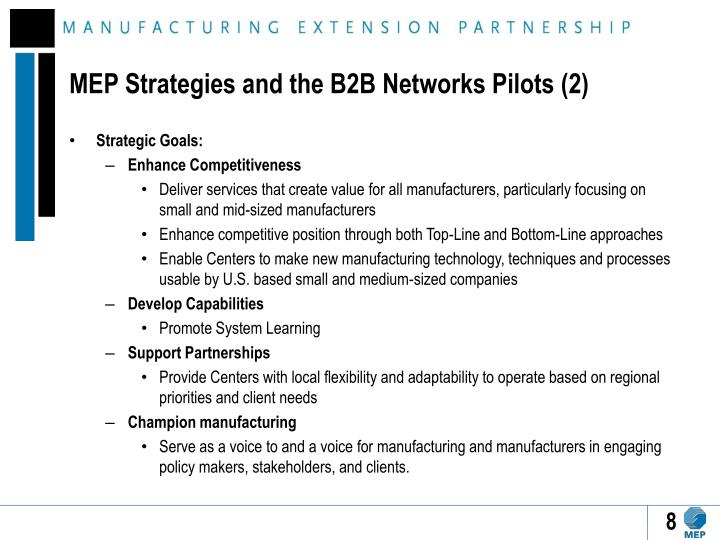 MEP Strategies and the B2B Networks Pilots (2)