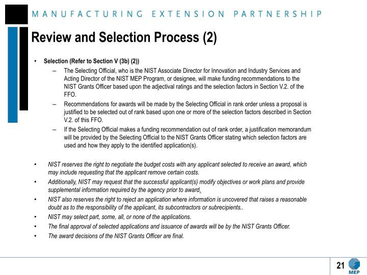 Review and Selection Process (2)