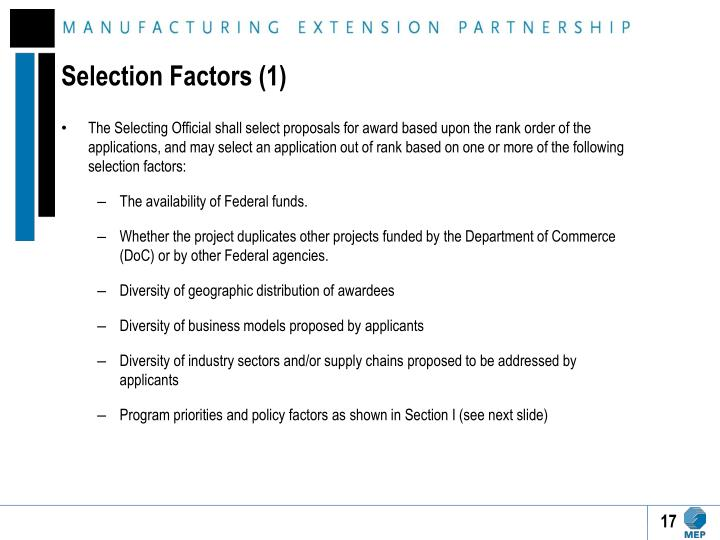 Selection Factors (1)