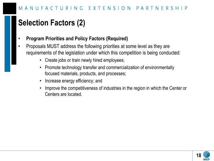 Selection Factors (2)